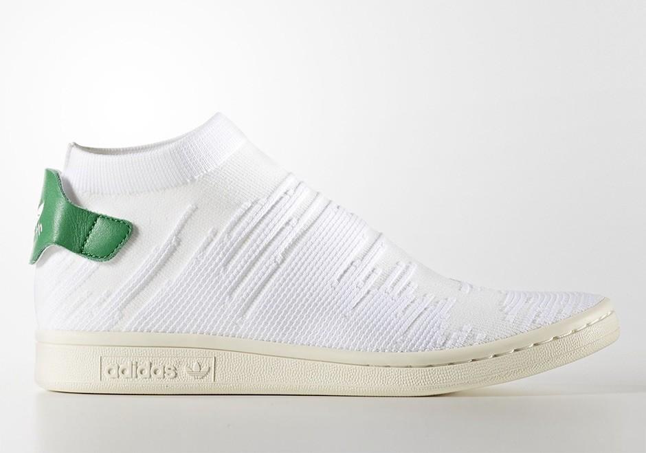 Adidas Mujer Stan Smith Sock Primeknit Blancas/Blancas-Verdes BY9252