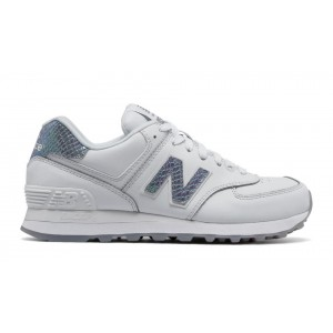 New Balance Mujer WL574LEA 574 Leather Blancas with Plata