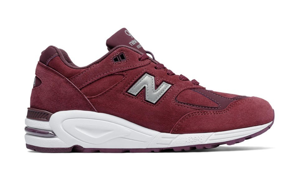 New Balance Hombre M990CIT2 990v2 Made in the USA Bringback Suede Burgundy with Plata